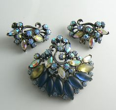 Florenza+Blue+Satin+and+Sparkling+AB+Demi+by+VintageLaneJewelry