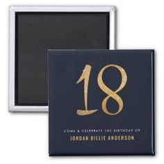 Formal Navy & Gold Glitter 18th Birthday Party Magnet - diy individual customized design unique ideas