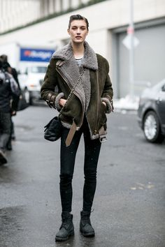 Great shearling jacket and combat boots. NYC #Offduty