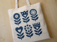 Hand Screen Printed, Scandinavian Flower Design, Tote Bag, Shopper Bag, Cotton Fabric, Textiles. Fran Wood Design - online shops at Folksy and Etsy.
