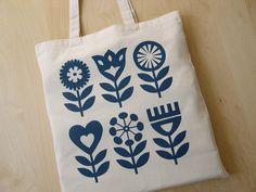 Hand Screen Printed, Scandinavian Flower Design, Tote Bag, Shopper Bag, Cotton Fabric. Fran Wood Design - online shops at Folksy and Etsy.