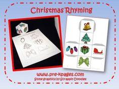 Christmas rhyming game for preschool & kinder