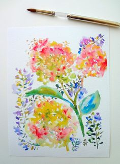 Hydrangeas & Purple Spray Watercolor Flowers by pineapplebaystudio