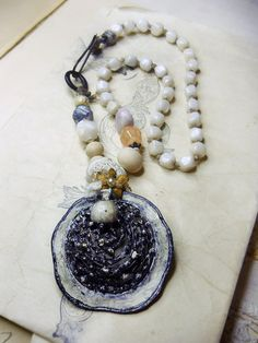 Beaded Necklace Rustic Assemblage Pendant by shipwreckdandy