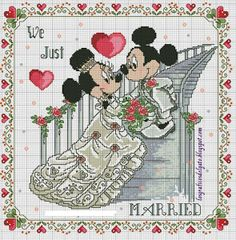 Mickey and Minnie just married Wedding Cross Stitch Patterns, Disney Cross Stitch Patterns, Counted Cross Stitch Patterns, Cross Stitch Designs, Cross Stitch Embroidery, Embroidery Patterns, Hand Embroidery, Disney Stitch, Mickey And Minnie Wedding