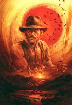 Image du film Indiana Jones and the Temple of Doom (Steven Spielberg) de Ignacio RC Henry Jones Jr, Harrison Ford Indiana Jones, Indiana Jones Films, Tv Themes, Indie Art, Movie Poster Art, Cultura Pop, Dark Horse, Comic Books Art