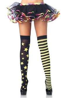 Stars Mismatched Roller Derby Stockings (Thigh High) *New*