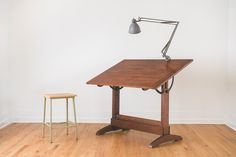 vintage handcrafted drafting table | via Homestead Seattle