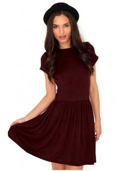 823d9abab3 Aliveta T-Shirt Skater Dress In Burgundy Grunge Fashion