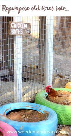 Repurpose Old Tires into Chicken Baths Weed 'Em and Reap Backyard Chicken Coops, Diy Chicken Coop, Backyard Farming, Chickens Backyard, Chicken Feeders, Chicken Swing, Chicken Coop Pallets, Inside Chicken Coop, Chicken Garden