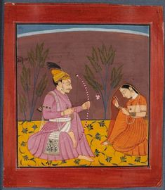 A prince aims the arrow of desire, made of flowers like Lord Kama, at a demur Lady. Pahari, Nurpur, India ca. Kunst Online, Online Art, Indian Paintings, Rajasthani Painting, Empire Moghol, Mughal Miniature Paintings, Mughal Empire, India Art, Arabian Nights