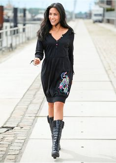Šaty s aplikáciou, dlhý rukáv S • 22.99 € • Bon prix