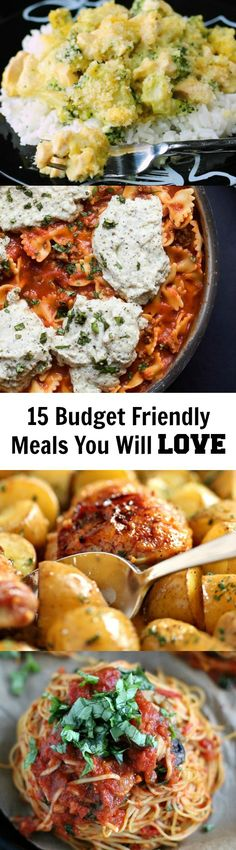 15 Incredible Inexpensive Meals Your Family Will LOVE! Inexpensive Healthy Meals, Quick Meals, Inexpensive Dinner Ideas, Simple Meals, Cheap Dinners, Easy Family Dinners, Easy Dinners, Frugal Recipes, Frugal Meals