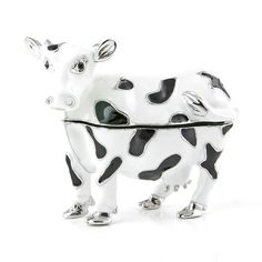 """""""Dairy #Cow Trinket Box Item No. KB00263A01 $20.29 This cow box features fine silver plated trim. It is cast from pewter before being painted with a thick enamel-like paint. The box is decorated with Swarovski crystals. Each crystal was placed by hand with the skillful hand of a trained artisan. This cow box opens and closes with a magnet clasp. The magnetic clasp allows the trinket box to open with ease, yet still close firmly. This cute cow comes in a satin-lined gift box."""" Red Eyed Frog, Happy Panda, Funny Frogs, Golden Fish, Turtle Gifts, Cute Cows, Tree Frogs, Keepsake Boxes, Panda Bear"""