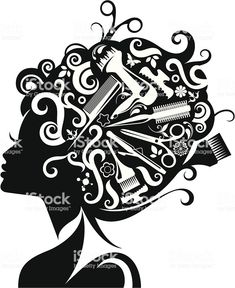 Lady's silhouette with hairdressing accessories. royalty-free ladys silhouette with hairdressing accessories stock vector art & more images of hairdresser Hair Health And Beauty, Hair Beauty, Cd R, Salon Design, Design Design, Interior Design, Tips Belleza, Beauty Shop, Free Vector Art