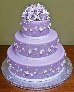 Lavendar wedding cake.