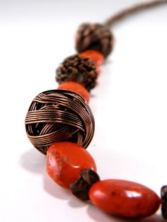 Dyed Coral & Bronze Sierra Necklace by UnnamedRoad on Etsy,  #hvnyteam