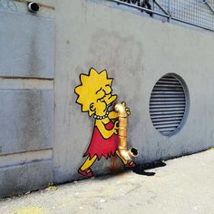 The French artist EFIX plays with the street to bring to life characters from pop culture - Street Art/ Graffiti - 3d Street Art, Best Street Art, Street Art Graffiti, Street Artists, Simpson Art, Lisa Simpson, Banksy, Pop Art, Sticker Art