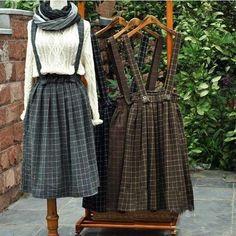 4 colors-- Vintage thickening mori girl plaid brace skirt belt autumn winter