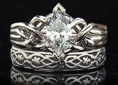 Celtic puzzle ring marquise diamond Marquise diamond puzzle engagement ring with diamond and yovrs . Celtic Engagement Rings, Celtic Wedding Rings, Celtic Rings, Vintage Engagement Rings, Wedding Bands, Wedding Set, Trendy Wedding, Blue Wedding, Wedding Ideas