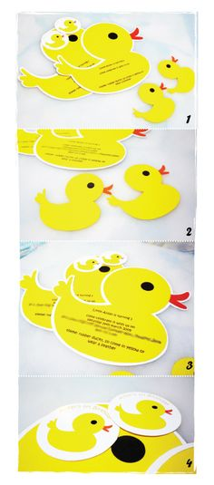 "Rubber Ducky First Birthday | Creative Party Place  (I did ducks and instead pasted them on blue cards with the words ""D is for Duck"" underneath."