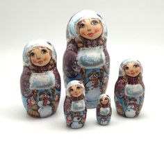 """Russian nesting doll (stacking doll) or Matryoshka doll is a set of dolls decreasing in sizes placed one inside another. The word """"ma-tr-o-sh-ka"""" is related to the old Russian word mat, meaning """"mother"""". 