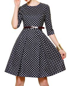 Half-sleeves Check Print Belted Md-long Dress, love the classic silhouette!