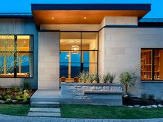 James D LaRue - Architecture Design,  House on the Hill. Like the different levels/dimension on the face of the building, built in planter wall, small scale walkway, use of materials: wood, vsrious stone, glass. http://www.larue-architects.com/works/house_on_the_hill/index.php#