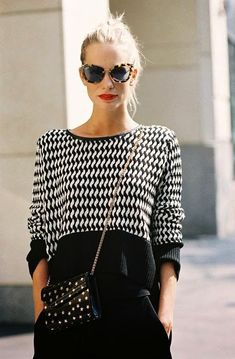 STREET STYLE: BLACK + WHITE | POPPY DELEVINGNE...xxx..bureauofjewels/etsy and facebook