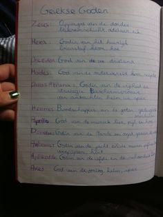 Klas 5, De Grieken, namen van belangrijkste goden