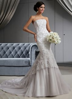 Sale Alert: Free Shipping! Up to 55% OFF on Weekly Deal! Only $396.99! Trumpet/Mermaid Strapless Chapel Train Satin Tulle Wedding Dress With Lace Beading (002022658) http://www.dressdepot.com/Trumpet-Mermaid-Strapless-Chapel-Train-Satin-Tulle-Wedding-Dress-With-Lace-Beading-002022658-g22658 Wedding Dress Wedding Dresses #WeddingDress #WeddingDresses