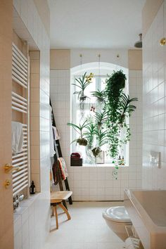 "Home ""Alone"": Small Space Hacks for Creating Privacy At Home. Love the plants hanging and creqting privacy by the window Bad Inspiration, Bathroom Inspiration, Interior Inspiration, Bathroom Ideas, Light Bathroom, Open Bathroom, Natural Bathroom, Bathroom Layout, Bathroom Designs"
