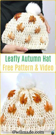 DIY Crochet Leafly Autumn Hat Free Pattern &Video Instruction-Crochet Beanie Hat Free Patterns