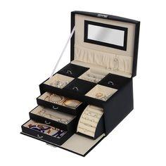 Yorbay Schmuckkoffer Seelux Serie Schmuckkasten mit Spiegel, 5 Schubladen (Weiß): Amazon.de: Küche & Haushalt