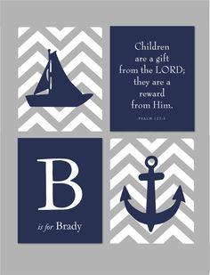 Nautical Nursery Set - Sailboat Anchor Silhouette with Chevron Stripes - Scripture Sign - Set of four prints  for modern nursery-  8x10 via Etsy