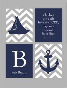 Nautical Nursery Set - Sailboat Anchor Silhouette with Chevron Stripes - Scripture Sign - Set of four prints for modern nursery- 8x10 via Etsy