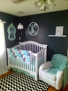 Modern black, white, metallic and mint baby nursery. Lots of diy projects!