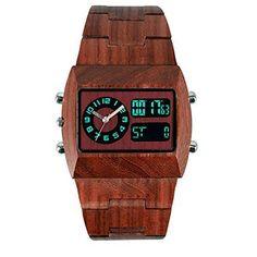 OrrOrr Digital Analog Holzuhr aus Wood Herrenuhr FrauenUhr Armbanduhr LED Datum Sportuhr Geschenk braun