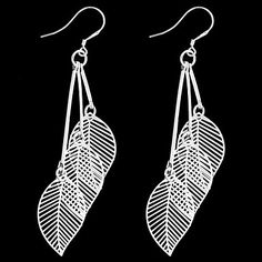 Tassel Leave-Shaped Slivered Earrings (1Pair) – USD $ 1.49