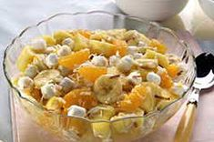 Fresh Pineapple Ambrosia recipe...Fresh Pineapple Ambrosia..2cups fresh pineapple chunks; 1can (11 oz.) mandarin oranges, drained; 1cup JET-PUFFED Miniature Marshmallows; 1 banana, sliced; 1/2cup BAKER'S ANGEL FLAKE Coconut, toasted... Make it: MIX all ingredients in large bowl. Serve immediately