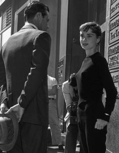 Audrey Hepburn and William Holden on the set of Sabrina, 1954