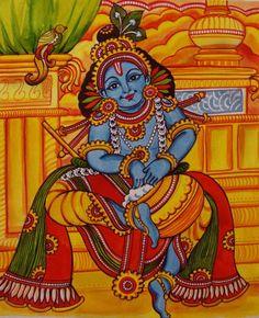 Picture Indian Traditional Paintings, Indian Art Paintings, Acrylic Paintings, Traditional Art, Kalamkari Painting, Madhubani Painting, Krishna Art, Krishna Statue, Krishna Leela