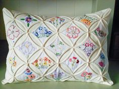 Cathedral window cushion, with embroidered stitchery by myBearpaw (Edinburgh). Fabrications magazine April/May 2013