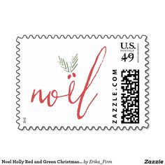 Noel Holly Red and Green Christmas Holiday Stamp by Erika Firm for Zazzle