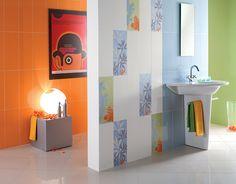 #Rivestimenti #piastrelle #bagno #Ceramica Fioranese SimpleFizzy #colours #colori Bianco Arancio Azzurro