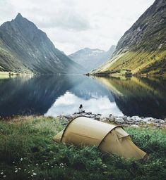 camping in the mountains by the lake