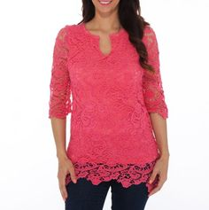 Pretty Coral / Rose Colored Lace Tunic - romantic tunic that easily dresses up or down.
