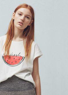 T-shirt van katoen en modal   MANGO