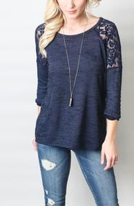 Super cute!! Love the color. And it looks sooo soft. - Lara Honey Punch Lace Inset Raglan from Stitchfix