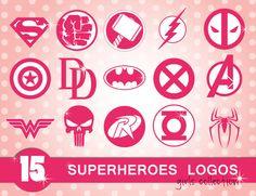 Digital cliparts sale! #Superhero pink logos including Superman, Spiderman, Hulk, Thor, Flash, Captain America, Wonder Woman, Punisher, Batman, Robin, Green Lantern and Avengers, Deadpool, X-men, Daredevil  in PNG, EPS formats. Very cute girly collection!